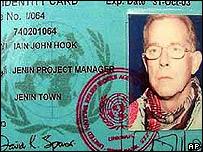 Iain Hook's UN identity card