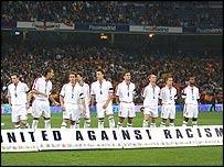Selección inglesa de fútbol antes del partido en el Bernabéu