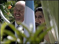 US Congressman Jerry Weller and the daughter of Guatemala's ex-military ruler Efrain Rios Montt,  Zury Rios Sosa, during their wedding