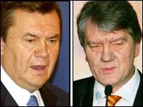 Viktor Yanukovych (izq.) y Viktor Yushenko y candidatos presidenciales en Ucrania