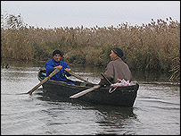 Romanian fishermen in delta