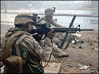US marines battle insurgents in the devastated city of Falluja