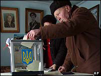 Voter in Grebelki village, northeast of Kiev