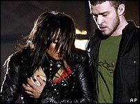 Janet Jackson with Justin Timberlake at the Super Bowl
