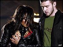 Janet Jackson with Justin Timberlake at the Super Bowl