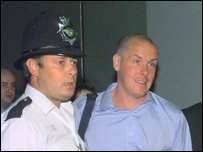 Nick Leeson returning to Heathrow from his jail term in Singapore