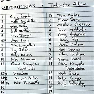 Garforth Town team-sheet.