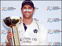 Scotland skipper Craig Wright celebrates in Sharjah (pic ICC)