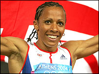Kelly Holmes celebrates her double success at the Athens Olympics