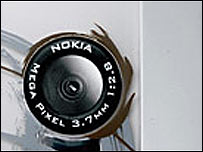 Rear of 7610 camera phone, Nokia