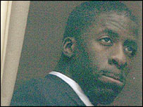 Dwain Chambers looks pensive during his disciplinary hearing
