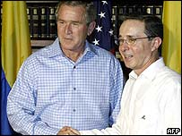 US President George W Bush and Colombian President Alvaro Uribe