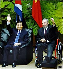Hu Jintao and Fidel Castro