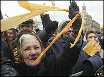 Ukrainians demonstrating
