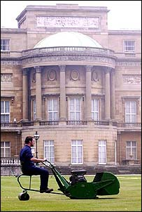 Mowing the lawn at Buckingham Palace