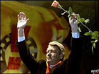 Presidential candidate Viktor Yushchenko greets his supporters