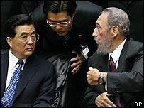 Ju Jintao y Fidel Castro