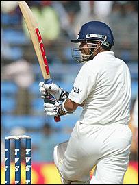 Tendulkar hitting an important fifty in Mumbai against Australia