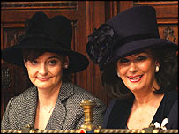 Cherie Blair, left, with Pauline Prescott watching the Queen's Speech