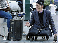 Disabled man begging on the streets of Tbilisi