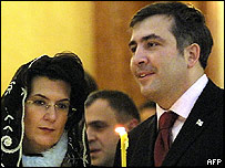 Mr Saakashvili at a church service in Tbilisi on 23 November