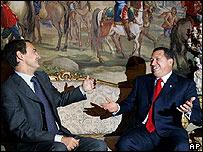 Hugo Ch�vez, presidente de Venezuela y Jos� Luis Rodr�guez Zapatero, presidente de Espa�a.