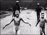 Nine-year-old Kim Phuc runs from a napalm attack on her village in Vietnam in 1972