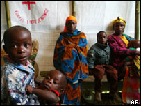 Internally displaced Congolese wait to see a doctor in eastern DR Congo