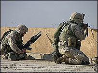 Marines take aim behind a rooftop parapet during Falluja assault - photo Robbie Wright