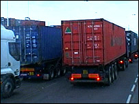 Lorries at Southampton Docks