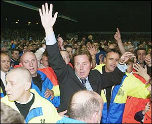 Harry Redknapp celebrates promotion to the Premiership