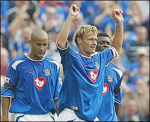 Teddy Sheringham celebrates scoring for Portsmouth