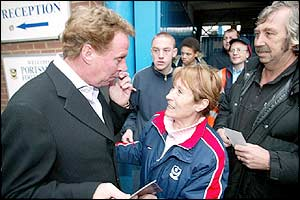 Harry Redknapp chats to fans after announcing his resignation
