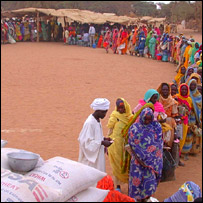 People queuing for food aid, PA