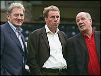 Portsmouth chairman Milan Mandaric (left) Harry Redknapp (centre) and Jim Smith