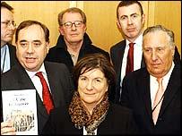 Alex Salmond, Corin Redgrave, Jenny Tonge, Adam Price and Frederick Forsyth