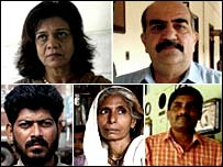 Five survivors of the toxic chemical accident in Bhopal