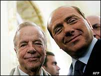 Franco Zeffirelli (L) with Silvio Berlusconi