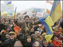 Pro-Yushchenko rally in Kiev on 24 November 2004