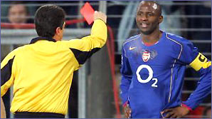 Patrick Vieira gets sent off