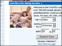 Screen grab of dating website for over 50s