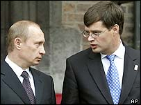 Vladimir Putin (left) and Dutch Prime Minister Jan Peter Balkenende