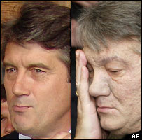 Viktor Yushchenko in July (left) and November 2004