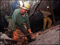 Miners in a Harmony Gold mine in South Africa