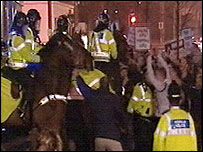 Protesters clashed with mounted police officers