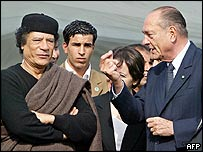 Col Gaddafi (L) and Jacques Chirac