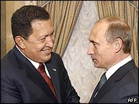 President Chavez (left) with President Putin in Moscow