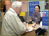 A pensioner at the Post Office