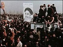 Iranian hardliners celebrate the return of Ayatollah Khomeini from exile after the Revolution in 1979