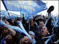 Yanukovych supporters at Kiev railway station on Friday